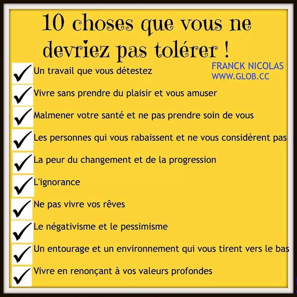 10 choses inaccepatbles